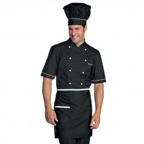 Veste de cuisine noir et blanche manches 1/2 Isacco