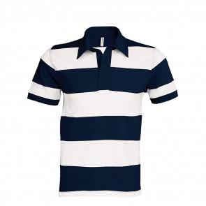 Polo rugby rayé manches courtes Kariban 100% coton