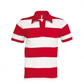 Polo rugby rayé manches courtes Kariban 100% coton Rouge/blanc