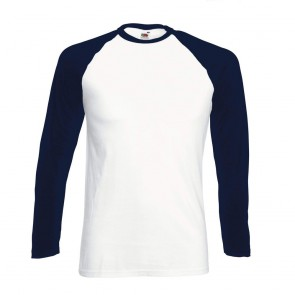 Tee-shirt baseball manches longues Fruit Of The Loom blanc marine