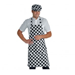 Tablier de cuisine à bavette damier Isacco Pettorina 100% coton