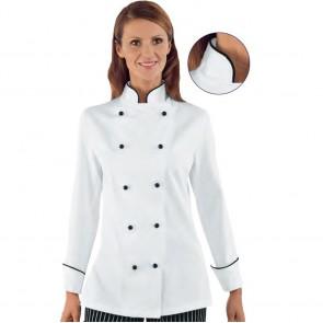 Veste de cuisine femme Isacco Blanc motif Noir Granchef 100% coton