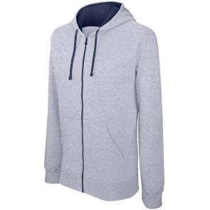 Sweat-shirt zippé capuche contrastée Kariban Homme