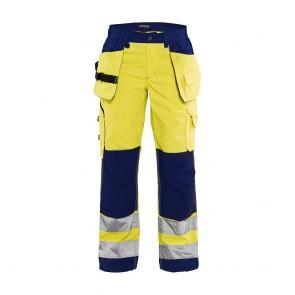 Pantalon de travail femme haute visibilité Blaklader polycoton croisé Jaune marine avant