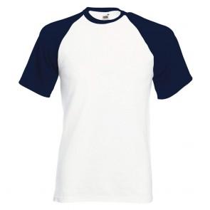 Tee-shirt baseball manches courtes Fruit Of The Loom blanc marine