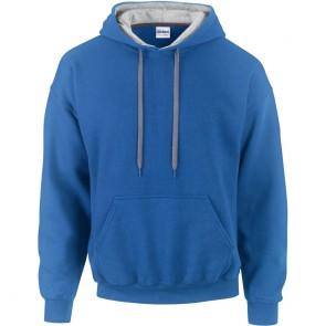 Sweat shirt capuche contrastée Gildan heavy blend  bleu royal/gris
