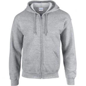 Sweat-shirt homme zippé capuche Gildan heavy blend gris