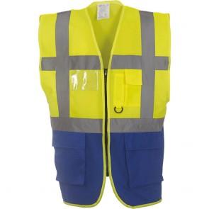 Gilet multifonction haute visibilité Yoko jaune bleu royal