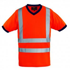 T-shirt haute visibilité Coverguard Yard Col V orange