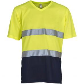 T-shirt haute visibilité Top Cool Unisexe Yoko jaune marine