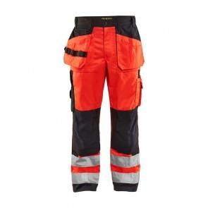 Pantalon de travail haute visibilité Blaklader sophistiqué polycoton Rouge / Noir avant