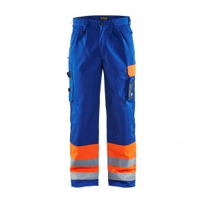 Pantalon de travail haute visibilité Blaklader Transport classe 1 Orange / Bleu Roi avant