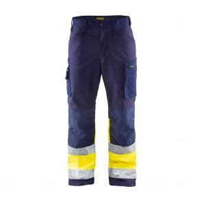 Pantalon de travail haute visibilité softshell Blaklader Stretch classe 1 Marine / Jaune avant