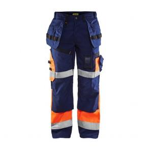 Pantalon de travail X1500 haute visibilité artisan Blaklader Classe 1 Marine / Orange avant