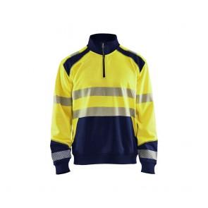 Sweat col camioneur haute visibilité Homme Blaklader jaune marine