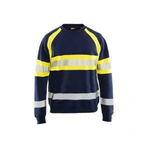 Sweat-shirt haut visibilité Blaklader Marine/Jaune face