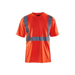 T-shirt col V haute visibilité Blaklader Rouge fluo face