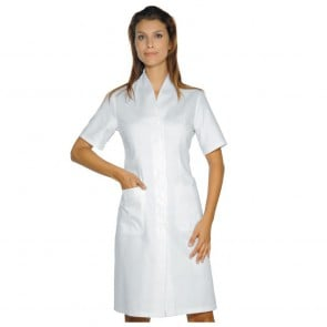 Blouse blanche médicale femme Col V Isacco Lugano manches courtes
