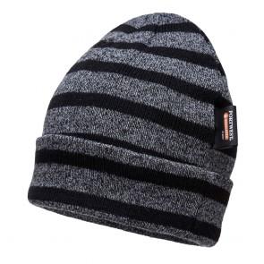 Bonnet tricoté à rayures Portwest Insulatex Gris noir
