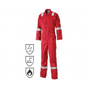 Combinaison antistatique Dickies pyrovatex rouge