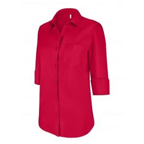 Chemise manches 3/4 femme Kariban Rouge