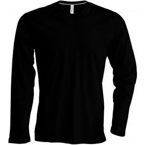 Tee-shirt de travail col V manches longues Kariban 100% coton Noir