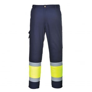 Pantalon combat haute visibilité bicolore Workwear marine jaune