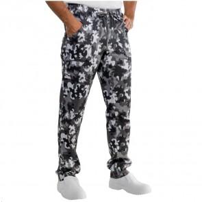 Pantalon de cuisine Camouflage noir et blanc Isacco Mimetico