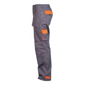 Pantalon de travail Multipoches Portwest Texo Action gris orange profil