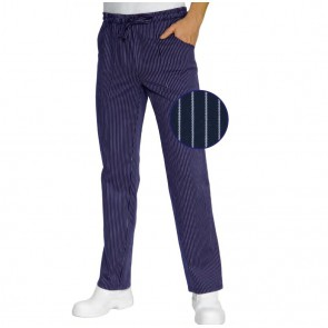 Pantalon de cuisine Isacco 100% coton bleu rayures blanches