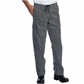 Pantalon de cuisine rayé noir et blanc multipoches Isacco Pantachef