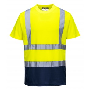 Tee-shirt haute Visibilité Portwest bicolore  Jaune/Marine