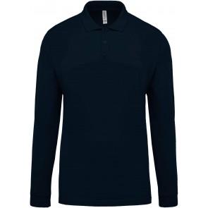 Polo de travail piqué manches longues homme Kariban 100% coton Bleu marine