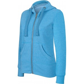 Sweat-shirt de travail zippé à capuche Kariban mélange femme