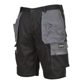Short de travail multi-poche Portwest Granit noir/gris face