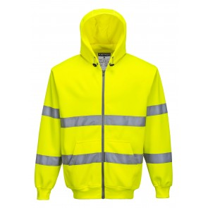 Sweat Shirt zip à capuche Haute Visibilité Portwest - Jaune