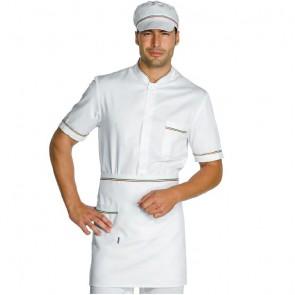 Tablier de cuisine blanc motif Italien Isacco 100% coton