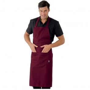 Tablier de cuisine / service bordeaux à bavette Isacco Daytona 95x95cm