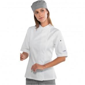 Veste de cuisine blanche femme Isacco manches courtes Lady Snaps