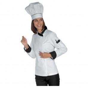 Veste de cuisine femme Isacco blanc col noir