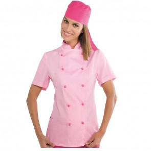 Veste de cuisine femme Isacco Extra Light Rose manches courtes