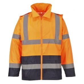Veste de pluie Haute-Visibilité bicolore Portwest orange marine