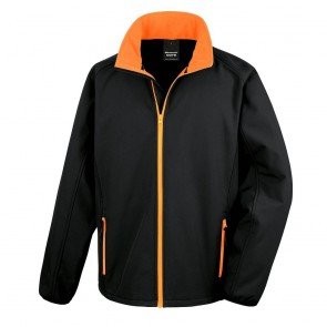 Veste Softshell Homme Result Core Printable noir orange