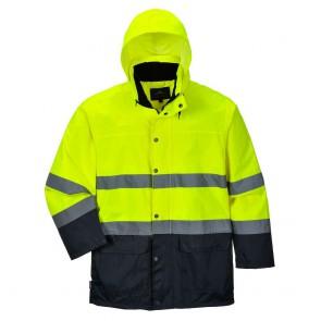 Veste de pluie haute visibilité Portwest bicolore - Jaune/Marine capuche