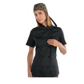 Veste de cuisine femme Isacco Extra Light manches courtes noire