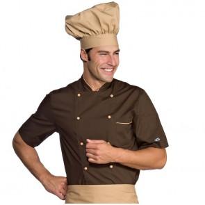 Veste de cuisine marron contrastée Isacco manches courtes Alicante Extra Light