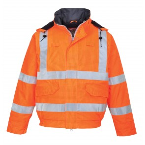 Blouson pluie haute visibilité antistatique Portwest Bizflame orange