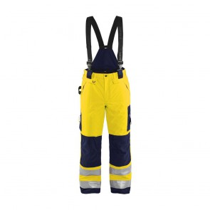 Pantalon à bretelles haute visibilité Blaklader Hiver Jaune / marine avant