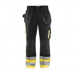 Pantalon artisan haute visibilité tissu 1860 Blaklader Noir / jaune avant