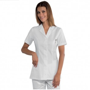Tunique médical blanche femme ISacco Coimbra 100% coton manches courtes